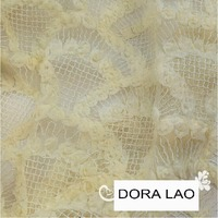 120cm wide beige embroidery flower lace net fabric for shirt dress clothes