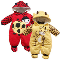 Cotton padded Baby's Romper Ladybug and Cows Boy/ Girl Jumpsuit Winter Infant Clothing Overalls for children CL0433