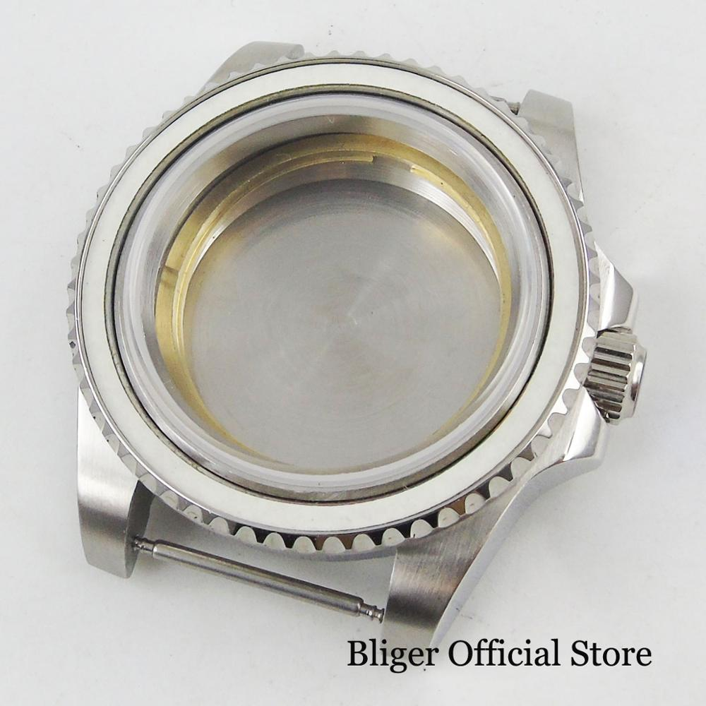 Fit For MIYOTA Automatic Movement 40mm Silver Watch Case Without Ceremic Bezel Sapphire Glass