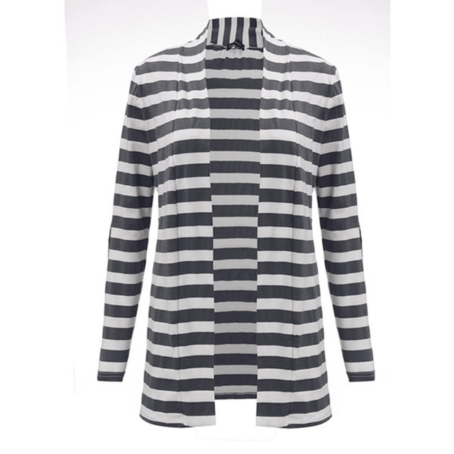 New Fashion 2017 Autumn Outerwear Women Long Sleeve Striped Printed Cardigan Casual Elbow Patchwork Knitted Sweater Plus Size