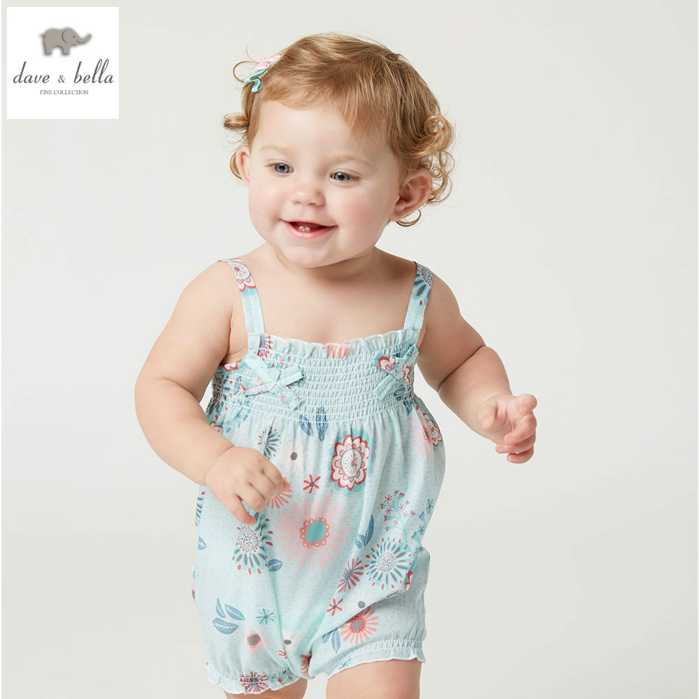 DB4376 dave bella summer new born baby cotton flower printed romper infant clothes girl cute floral romper baby 1 piece pudcoco newborn infant baby girls clothes short sleeve floral romper headband summer cute cotton one piece clothes