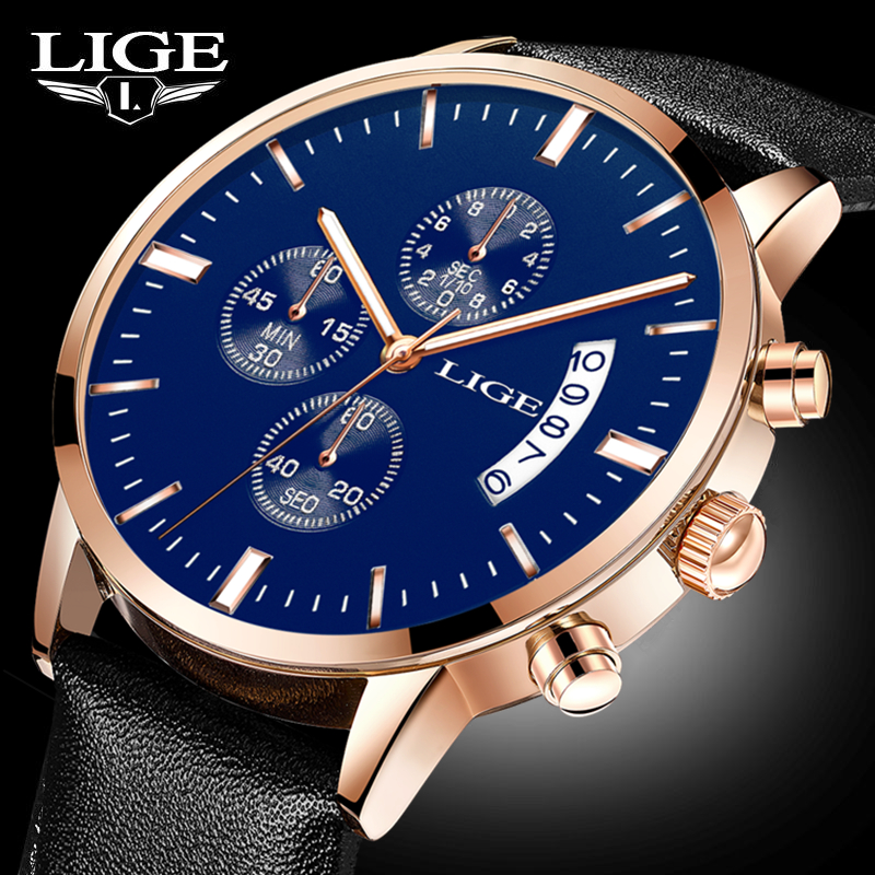 2017 New Top Luxury Brand LIGE Men Sports Watches Men's Quartz Date Clock Man Leather Army Military WristWatch Relogio Masculino