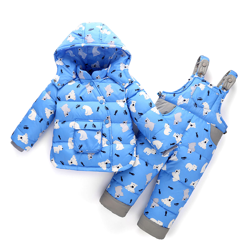 2017 New Winter Children Clothing Sets Duck Down Jacket Set Pant-Jacket hooded Baby Girls Thick Coat+Jump Snowsuit Kids Overalls 2016 winter boys ski suit set children s snowsuit for baby girl snow overalls ntural fur down jackets trousers clothing sets