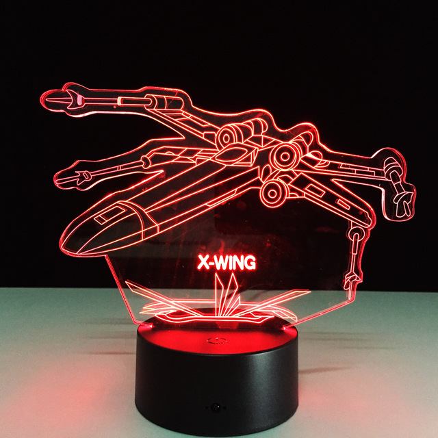 X-Wing Fighter Star Wars Night Lamp 3D Vision Led Nightlights USB Desk Lampara 7 Colors Changing Touch Sensor