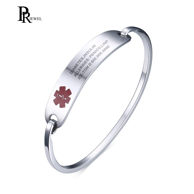 (Free Engraving)Women Stainless Steel Silver & Gold Color Medical Alert ID Bangle Bracelet,Cuff Bangle for Female Gift Jewelry 1