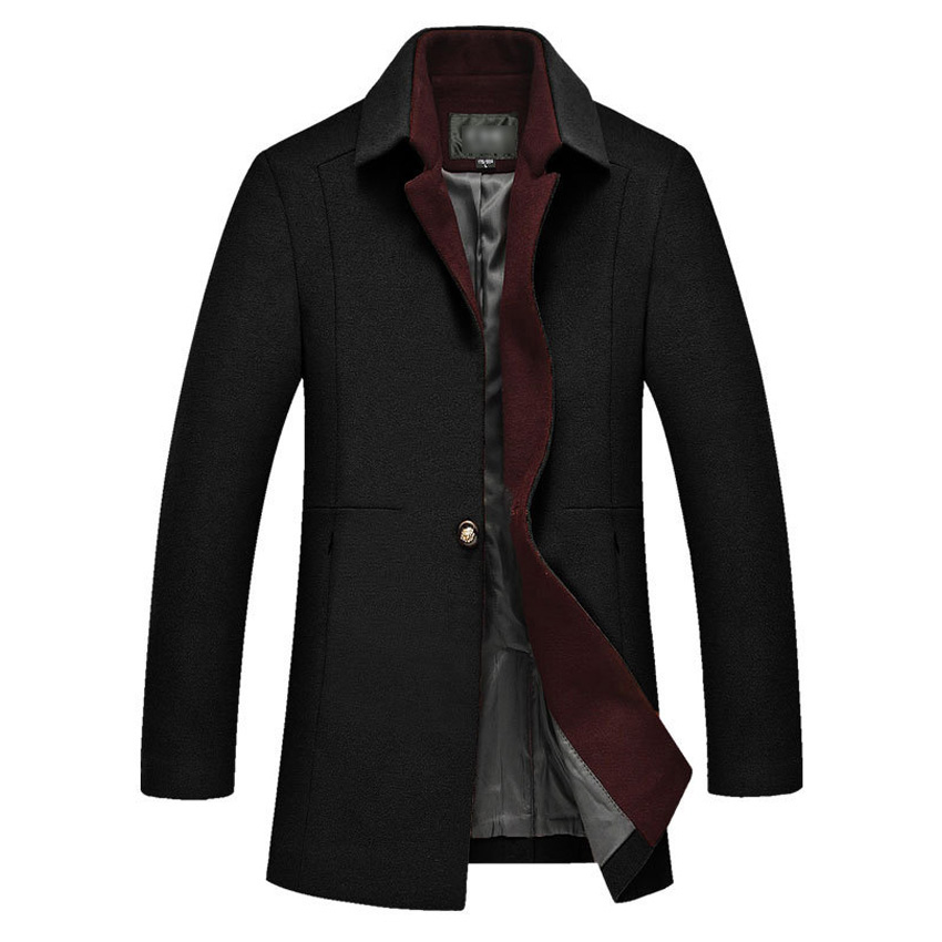 Wool Blends Suit Design Wool Coat Men's Casual Trench Coat Slim Fit Double Breasted Office Suit Jacket 160cy double breasted wool blend longline trench coat