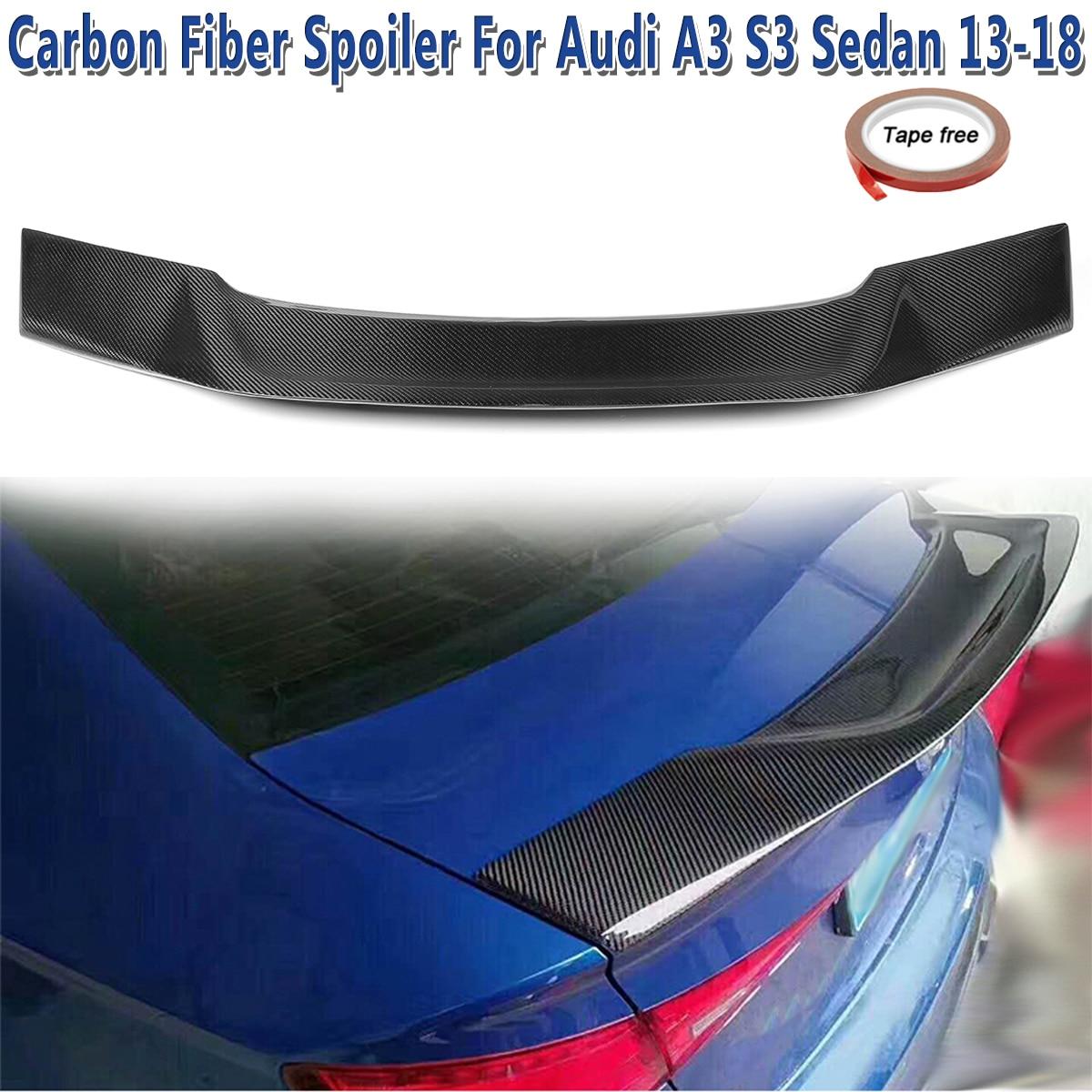 Real Carbon Fiber Rear Trunk Spoiler Lip for Audi A3 S3 Sedan 4-Door Type E 2013-2018 Car Rear Wing Trunk Lip Spoilers bsg fv21811gtn 51 1995 nissan altima 4 door sedan rear driver vent green tint auto glass