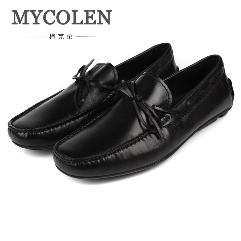 MYCOLEN New Arrivals Shoes Men Low Mens Daily Business Leisure Leather Shoes Breathable High Slip On Fashion Doudou Shoes branded men s penny loafes casual men s full grain leather emboss crocodile boat shoes slip on breathable moccasin driving shoes