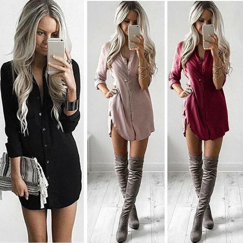 Women Fashion Blouse Shirt Dress Summer Casual Loose Long Sleeve Blouse Tops Casual Blouse Dress