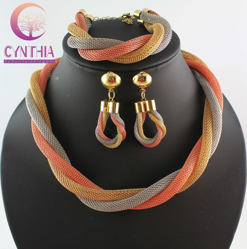 Costume Jewelry African Party-Necklace Gold-Color Fashion Big WB-2114 Heavy