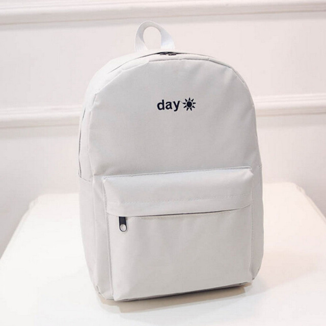 Canvas Light Grey Day Embroidery Backpacks Staionery Holder Bags