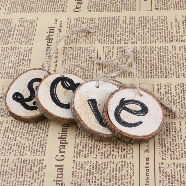 4pcs Set Wooden Slice Love Word Hanging Wall Plaques Signs Rustic Wedding