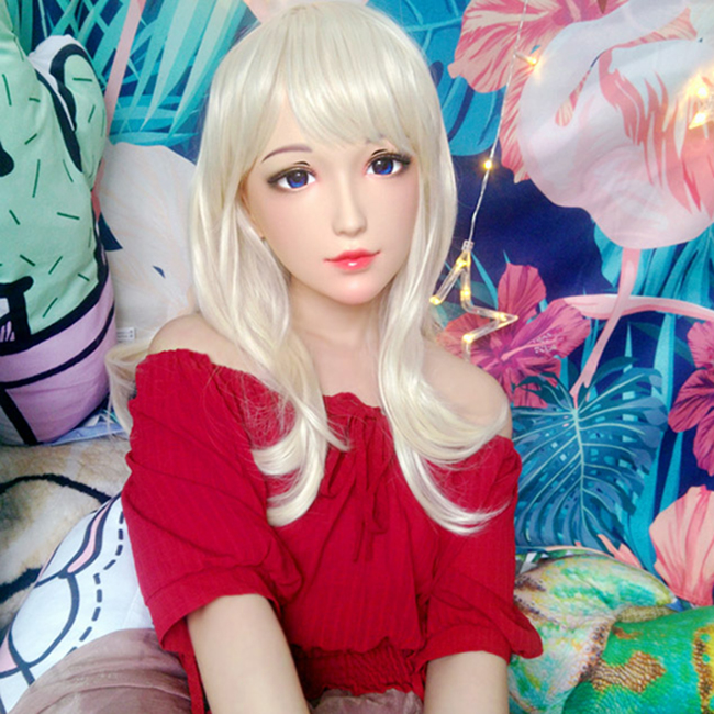 (Ching-01) feminino Sweet Girl Resina Metade Cabeça Kigurumi Cosplay Máscara Máscara de Papel Anime Japonês Lolita BJD Travestir Máscara de Boneca