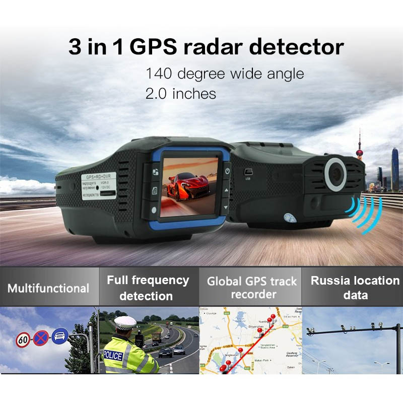 pluseye 3 in 1 Car DVR Anti Radar Detector GPS tracker full band G-sensor dash cam free shipping