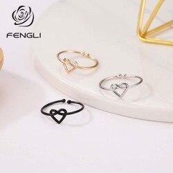 Fengli clássico gravata coração anéis presentes para mulheres jóias ajustáveis preto geométrico adorável simples mini amizade acessórios
