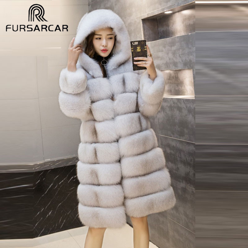 FURSARCAR Winter Natural Real Fox Fur Coat Women Whole Pelt  Female Jacket With Hood 2018 New Fox Fur Long Women Fur Coat
