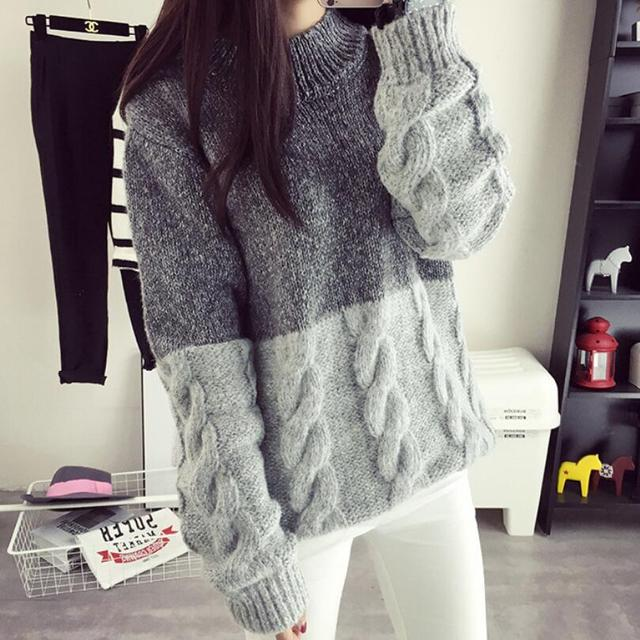 74a978c30d9 2016 New Korean Spring Autumn Thick Coarse Wool Knitted Sweater Girls  Fashion Casual Patchwork turtleneck Grey
