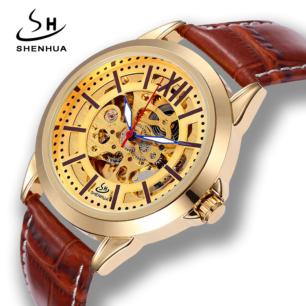 Shenhua relogio automatico Skeleton Gold Transparent Automatic Self Wind Watch 2018 New Men Watches Leather Mechanical-Watches antique brozne transparent gear skeleton mechanical automatic self wind pocket watch retro pendant fob watches relogio de bolso