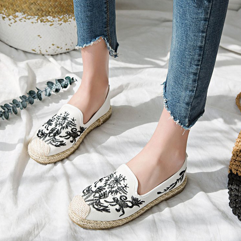 Women Straw Embroidery Ethnic Autumn Fisherman Flats Female Cotton Fabric Comfort Loafers Espadrilles Ladies Casual Footwear famiao footwear spring women loafers cane hemp straw fisherman flat shoes breathable espadrilles woman flats zapatos