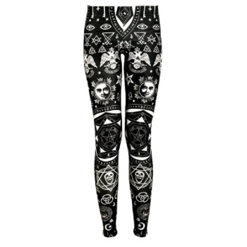 Geometric Skull Printing Slim Fit Leggings