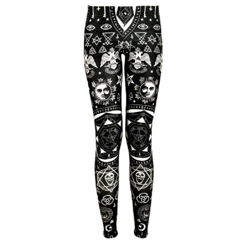 Gothic Geometric Symbol Skull Printing Women'S Leggings 3D Digital Print Woman Pants High Elasticity Slim Fit Legging