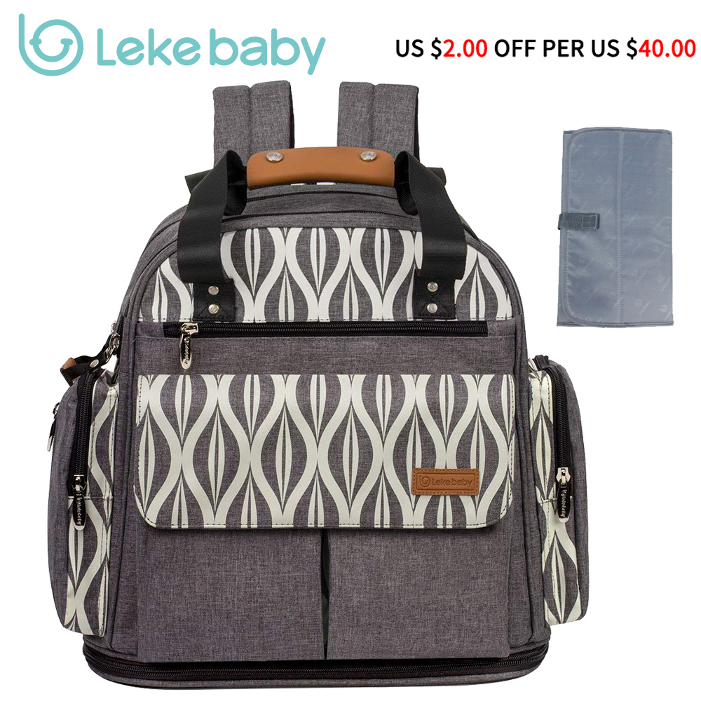Lekebaby Diaper Bag Expandable Backpack Tote Messenger Bag For Mom And Girl In Grey Mom Backpack Baby Organizer Maternity Bags