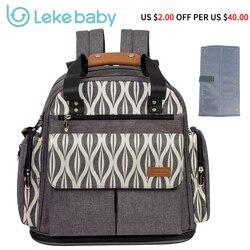 Lekebaby Windel Tasche Erweiterbar Rucksack Tote Messenger Tasche für Mama und Mädchen in Grau mom Rucksack Baby Organizer Mutterschaft Taschen