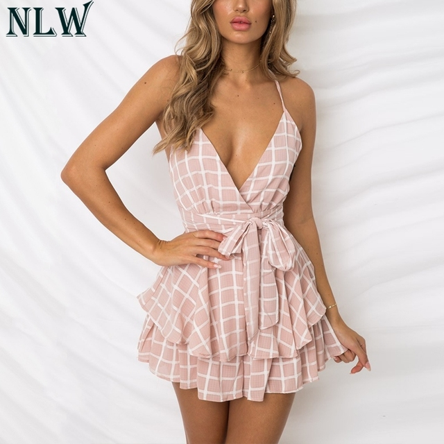 NLW White Ruffle Plaid Jumpsuits Rompers Spaghetti Strap Cross Back Bow Tie Waist Skorts Playsuit Girl Summer Beach Overalls 1