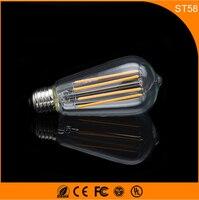 50 шт. ST58 4 Вт Ретро Винтаж edison e27 b22 светодиодные лампы, нити Стекло свет лампы, теплый белый Энергосберегающая Лампы для мотоциклов свет AC220V