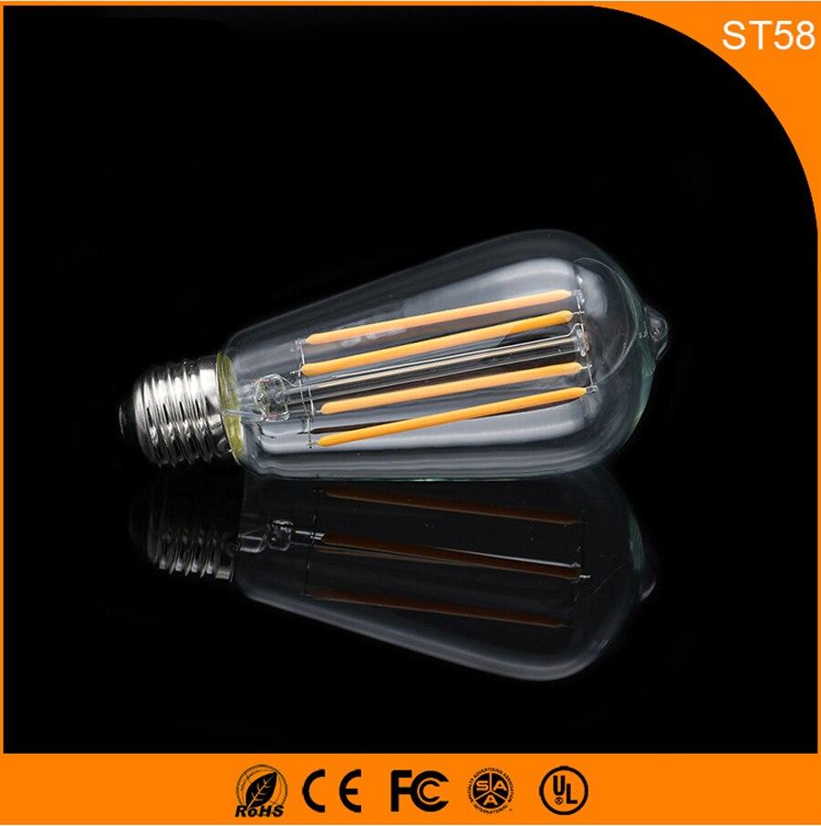 50 PCS ST58 4 W Rétro Vintage Edison E27 B22 LED Ampoule, Led Filament Verre Lumière Lampe, Blanc chaud D'économie D'énergie Lampes Lumière AC220V