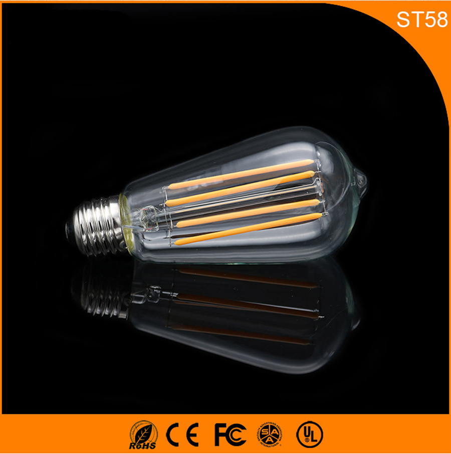 50PCS ST58 4W Retro Vintage Edison E27 B22 LED Bulb ,Led Filament Glass Light Lamp, Warm White Energy Saving Lamps Light AC220V high brightness 1pcs led edison bulb indoor led light clear glass ac220 230v e27 2w 4w 6w 8w led filament bulb white warm white