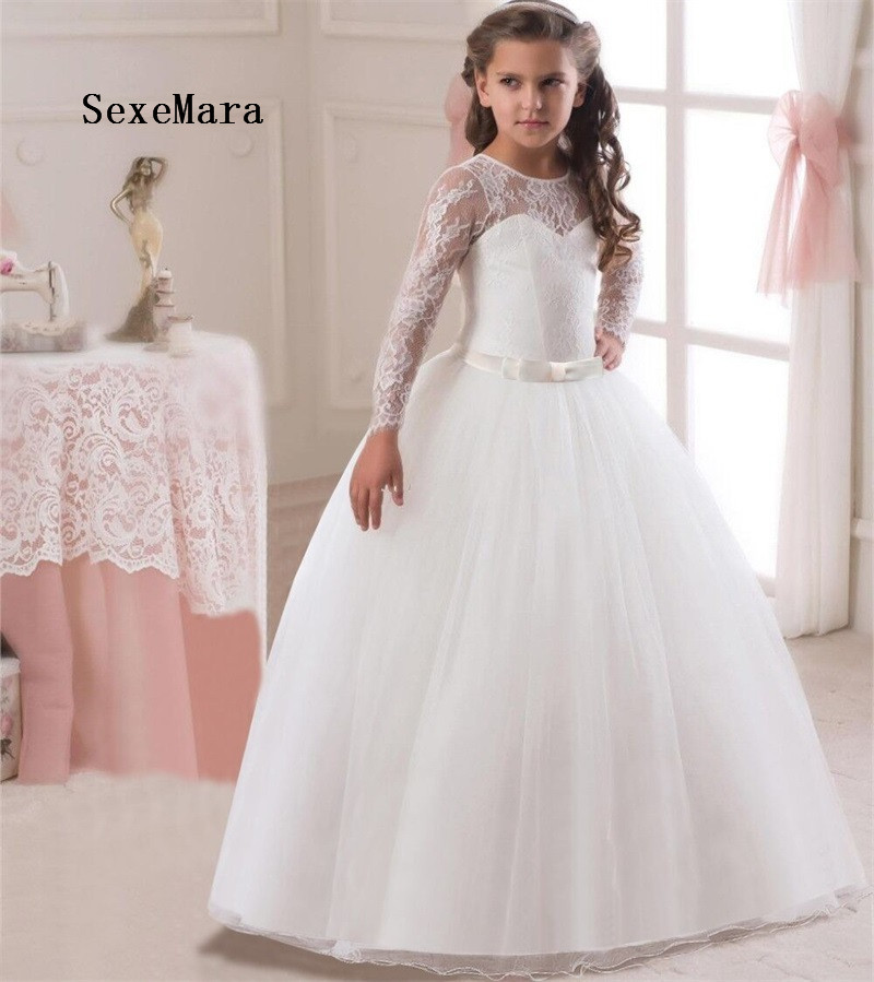 Romantic Puffy Lace Flower Girl Dress 2018 for Weddings Tulle Ball Gown Girl Party Communion Dress Pageant GownRomantic Puffy Lace Flower Girl Dress 2018 for Weddings Tulle Ball Gown Girl Party Communion Dress Pageant Gown