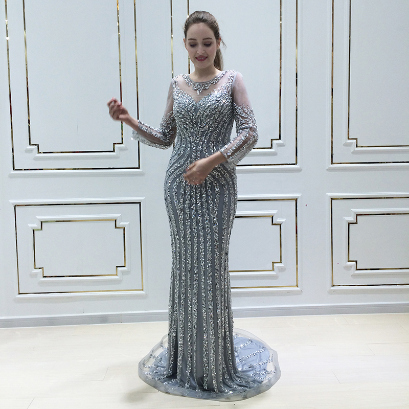 a2fd01622de9 Robe De Soiree 2018 Sequin Luxury Mermaid Evening Dress Long Sleeves with  Crystal Women Arabic Formal Prom Party Gown Real Photo ~ Best Seller July  2019