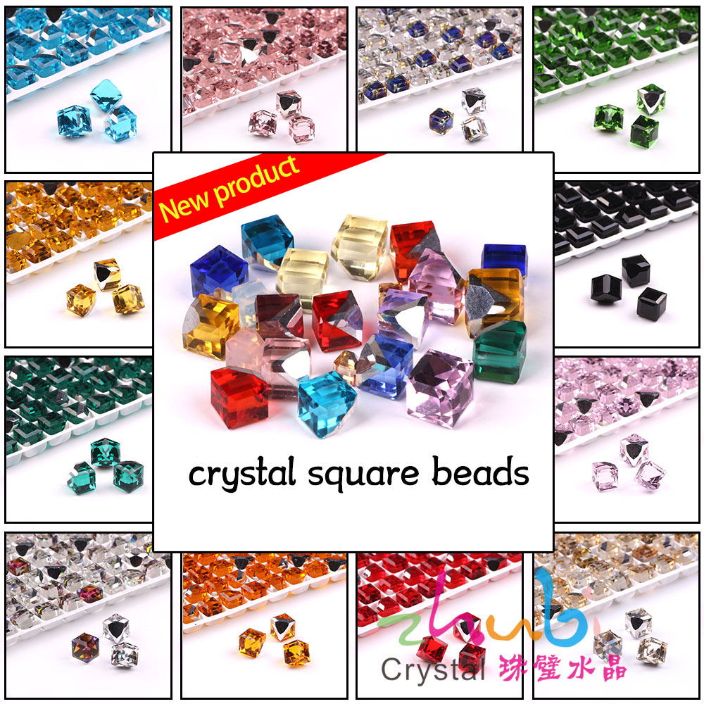 Zhubi Faceted Glass Square Beads 6 8mm Crystal Cube Loose