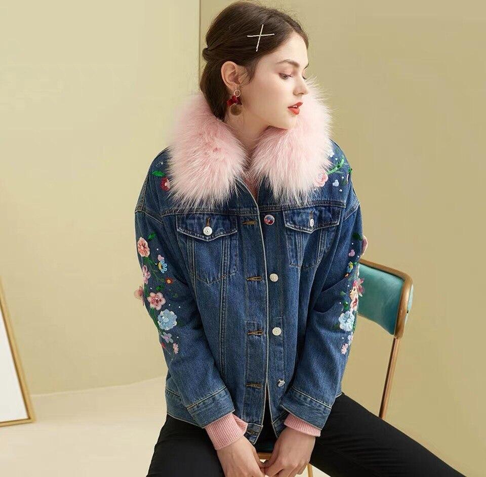 Luxury Fur Coat 2019 New Winter Real Raccoon Fur PinkCollar Warm Coat Women Embroidered Flower Rabbit Fur inside Denim Coat in Faux Fur from Women 39 s Clothing