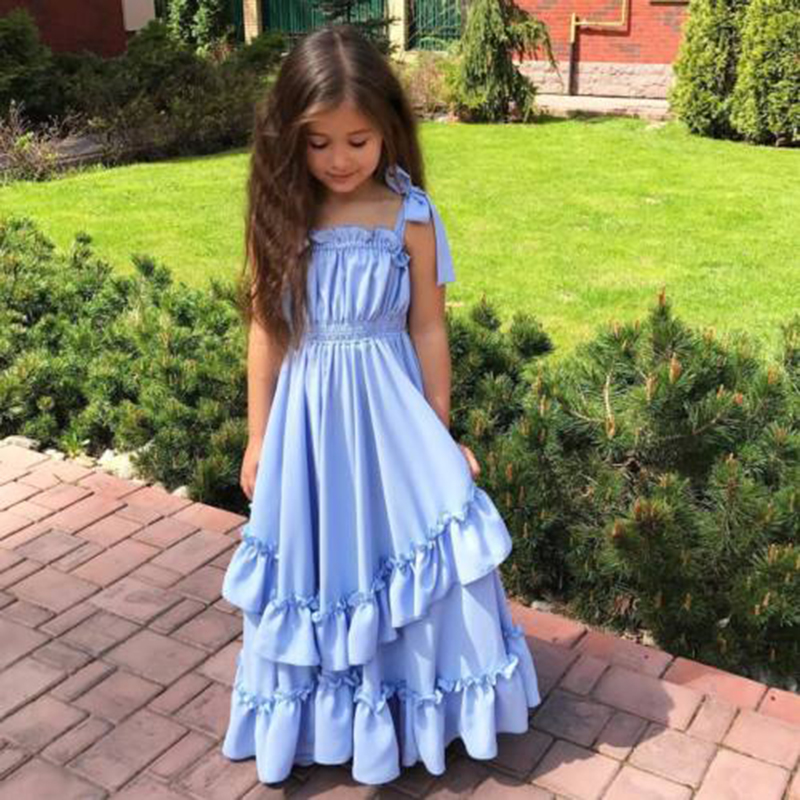 New Fashion Infant Girls Summer Dress Kids Girl Bow Princess Ruffle Dress Kids Baby Girls Sleeveless Long Maxi Wedding Dresses fashion toddler girls princess dress elegant floral bow vestidos for baby girl winter infant kids cotton lace dresses