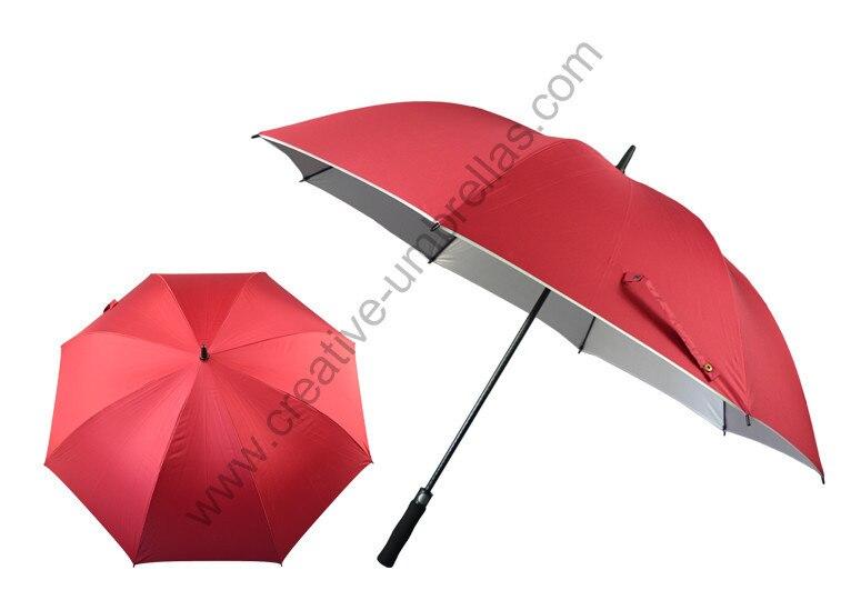 2 pcs/lot libre diamètre 120 cm anti-tonnerre anti-rouille en fibre de verre auto ouvert ceintures d'épaule bleu pongé argent revêtement golf parapluie
