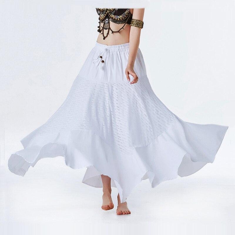 0be0df030 Nueva falda danza del vientre Tribal falda Maxi de Color sólido  (Length-95cm) gitano blanco ...