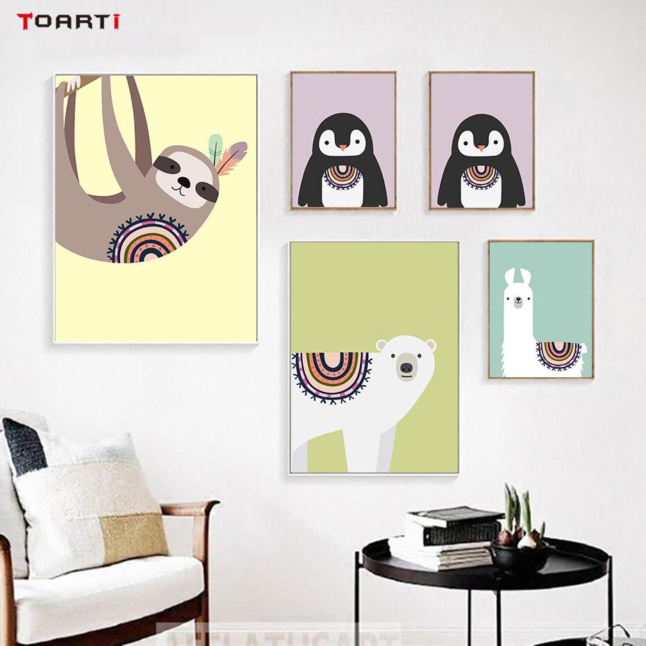Cartoon Tribu Polar Bear Penguin Wall Art Canvas Painting Poster And ...