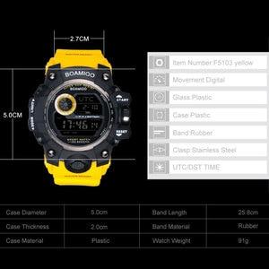 Image 5 - BOAMIGO brand UTC DST time watches raise to wake led light men digital sport military watches 50m swim waterproof rubber band