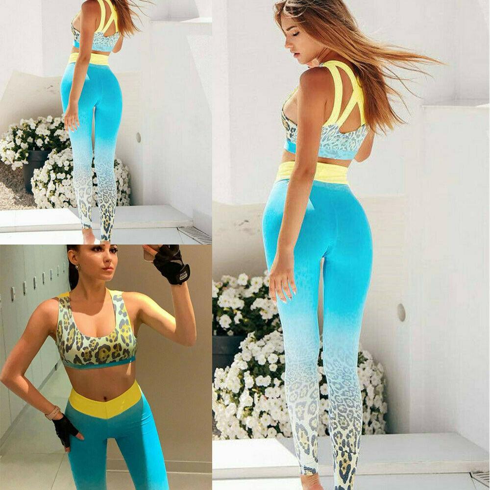 Hirigin Women Leopard Printed Sports Vest Top + Leggings 2PCS Set Running Gym Fitness Tracksuit
