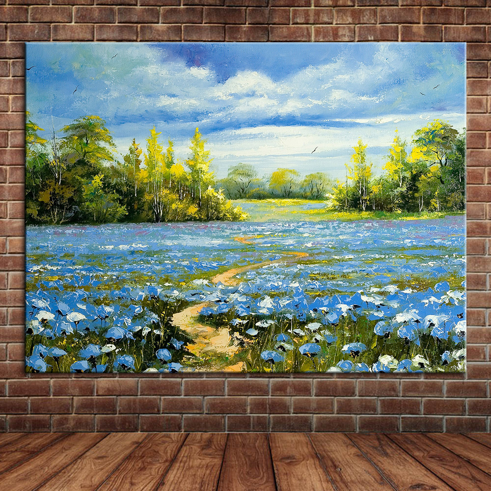 Modern Blue Sky Flowers Nature View Landscape Hand Made Oil Painting ...