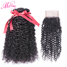 Kinky Curly Bundles With Closure Remy Peruvian Hair Bundles With Closure 3 Human Hair Bundle With Lace Closure Ms Love Hair
