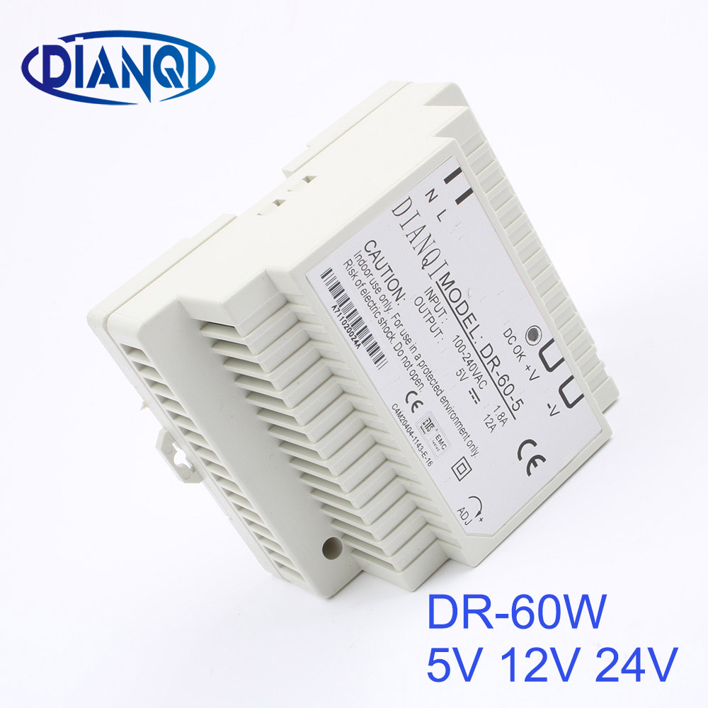 DIANQI Din rail power supply 60w 12V power suply 12v 60w ac dc converter dr-60-12 good quality ac dc dr 60 5v 60w 5vdc switching power supply din rail for led light free shipping