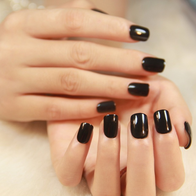 Hot Por Solid Color Pre Glue Fake Nails Short Press On Style Black Pink Purple