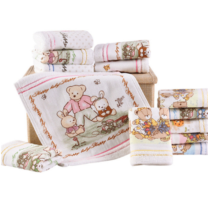 Cartoon Cotton Towels Soft Baby Towel Handkerchief For Infant Kid Children Feeding Bathing Face Washing Ho AD0442