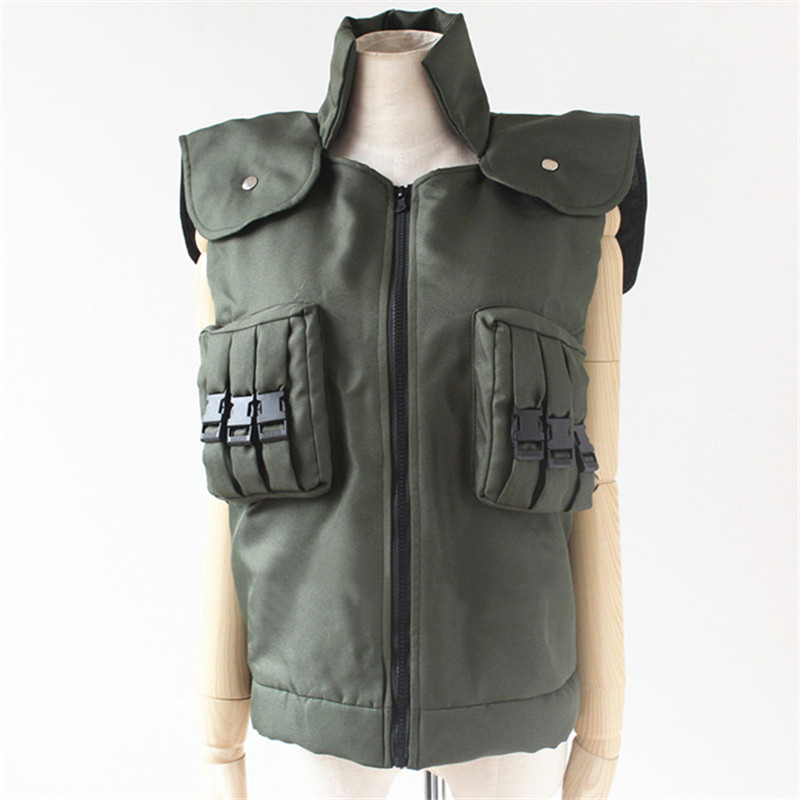 Halloween New Hot Sale Japanese Anime Naruto Cosplay Costumes Hatake Kakashi Green Unisex Vest Garment