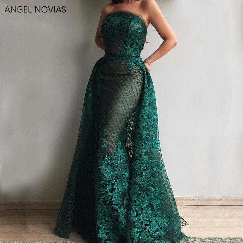 ANGEL NOVIAS Long Elegant Green Lace Evening Dress 2020 Dubai Formal Wedding Party Gowns Abend Kleider 2019