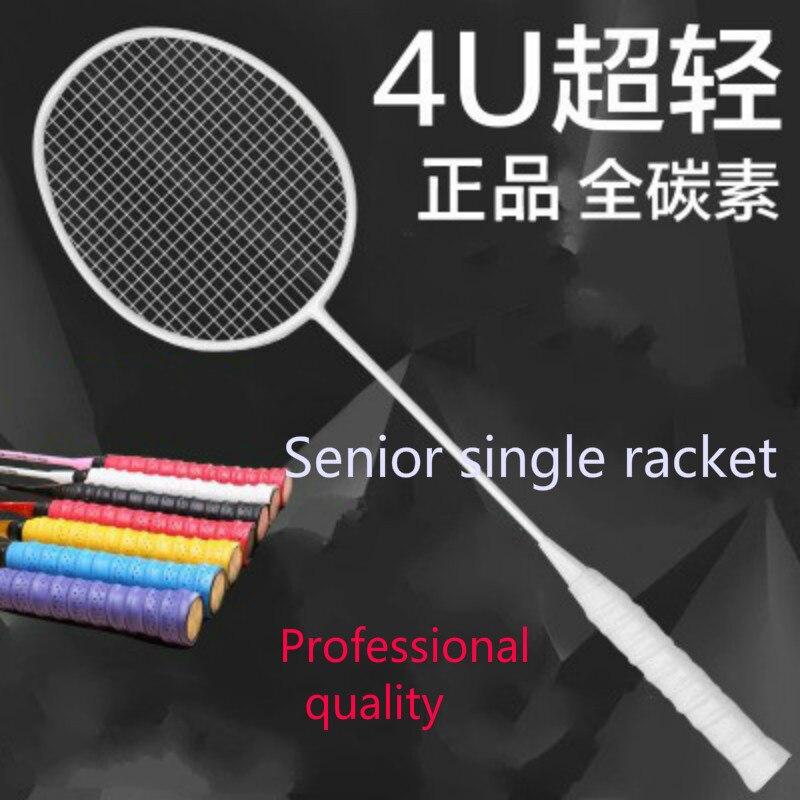 Plein de badminton de carbone raquette véritable coup unique ultra lumière 4u5u tourné en amateur senior équipe formation raquette Professionnel