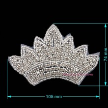 1pc Sew On Crown Patch Iron On Rhinestone Patches Sewing on Crystal Appliques For Bridal Wedding Evening Dress DIY